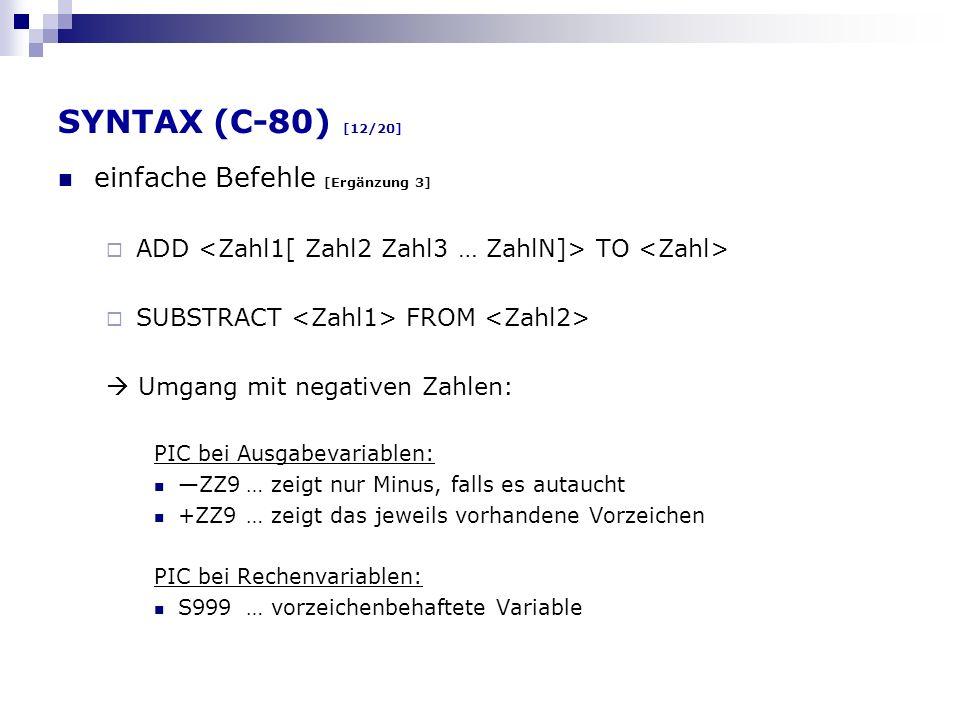 SYNTAX (C-80) [12/20] einfache Befehle [Ergänzung 3]